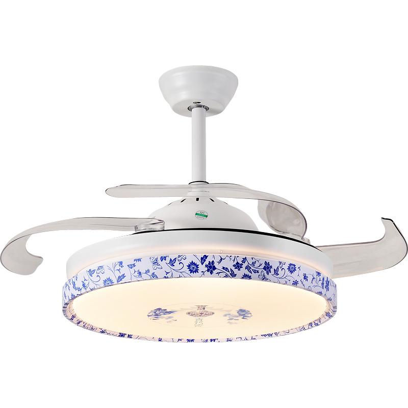 家用客厅带风扇的吊灯餐厅可伸缩卧室简约现代卧室灯具风扇灯