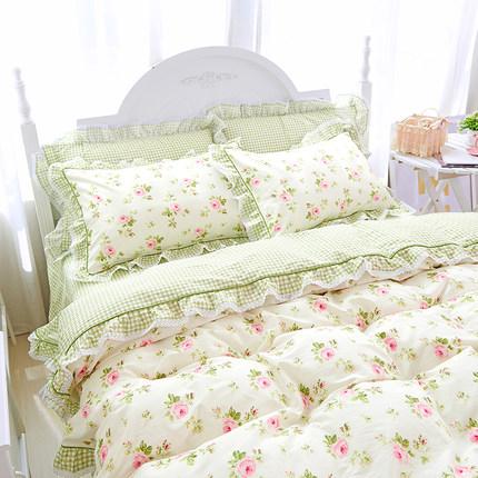 全棉韩式蕾丝花边四件套纯棉田园风小碎花被套床单公主风床上用品