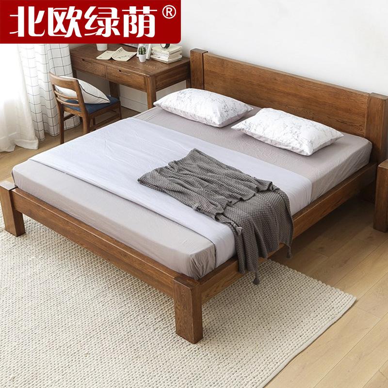 新品式工厂直销实木双人床白橡木日式粗腿双人床卧室家具来自上海