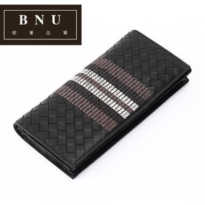 BNU新款皮夹子男生钱包长款版个性编织真皮超薄潮男刺绣男士QQ724