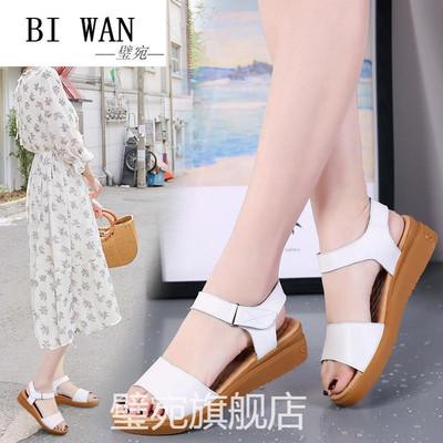 璧宛妈妈凉鞋夏季中跟韩版休闲女鞋新款小坡跟女士凉鞋露趾魔