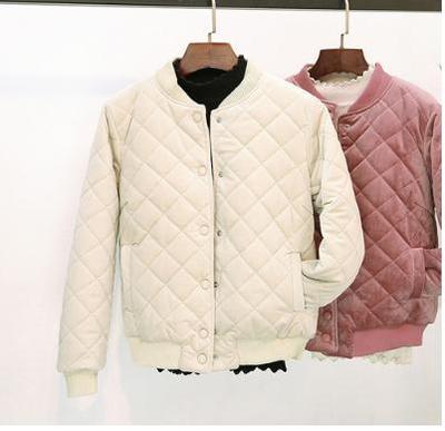 2018新款冬季韩版菱格加厚棒球服棉衣外套女短款金丝绒原宿小棉服