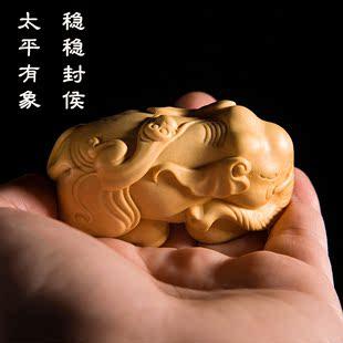 黄杨木雕大象摆件 木质封候拜相雕刻工艺品生肖猴手把件实木文玩