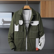 Chaobai men's autumn jacket, turndown collar, spring and autumn jacket, Korean version of loose and large size casual jacket trend