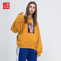 三福2018冬装新品女人物印花连帽卫衣 舒适棉质上衣女390118