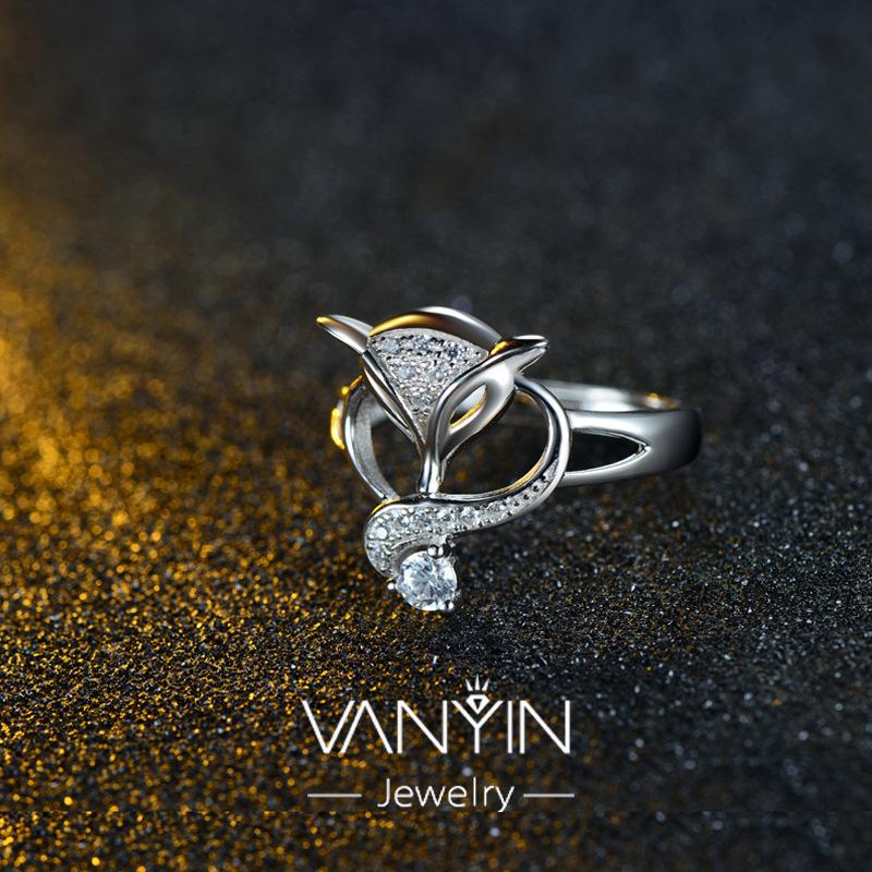 s925纯银银饰镶钻创意狐狸套装饰品女款开口戒指定做