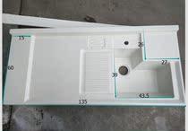 洗衣槽洗衣柜台面阳台定制切角石英石洗衣池台盆洗衣盆洗衣机柜