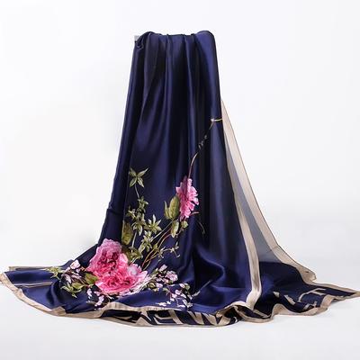 女士秋冬季超大尺寸百搭新丝缎丝绸印花长丝巾围巾披肩蓝酒红军绿