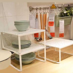 宜家办公桌面整理架收纳架厨房置物架收纳花架创意小型铁质迷你