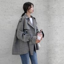 秋装新款韩版宽松大码lulu格子短款风衣女格纹短外套小个子chic潮