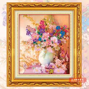 欧式丝带绣花语凝香3D彩印挂画客厅彩绘新款印花丝带非十字绣卧室