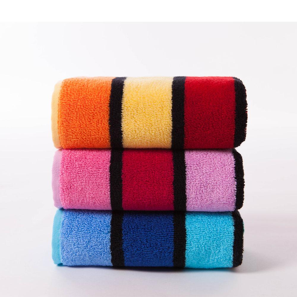 金号纯棉加厚毛巾三条装 全棉提花面巾 柔软吸水 条纹色彩绚丽