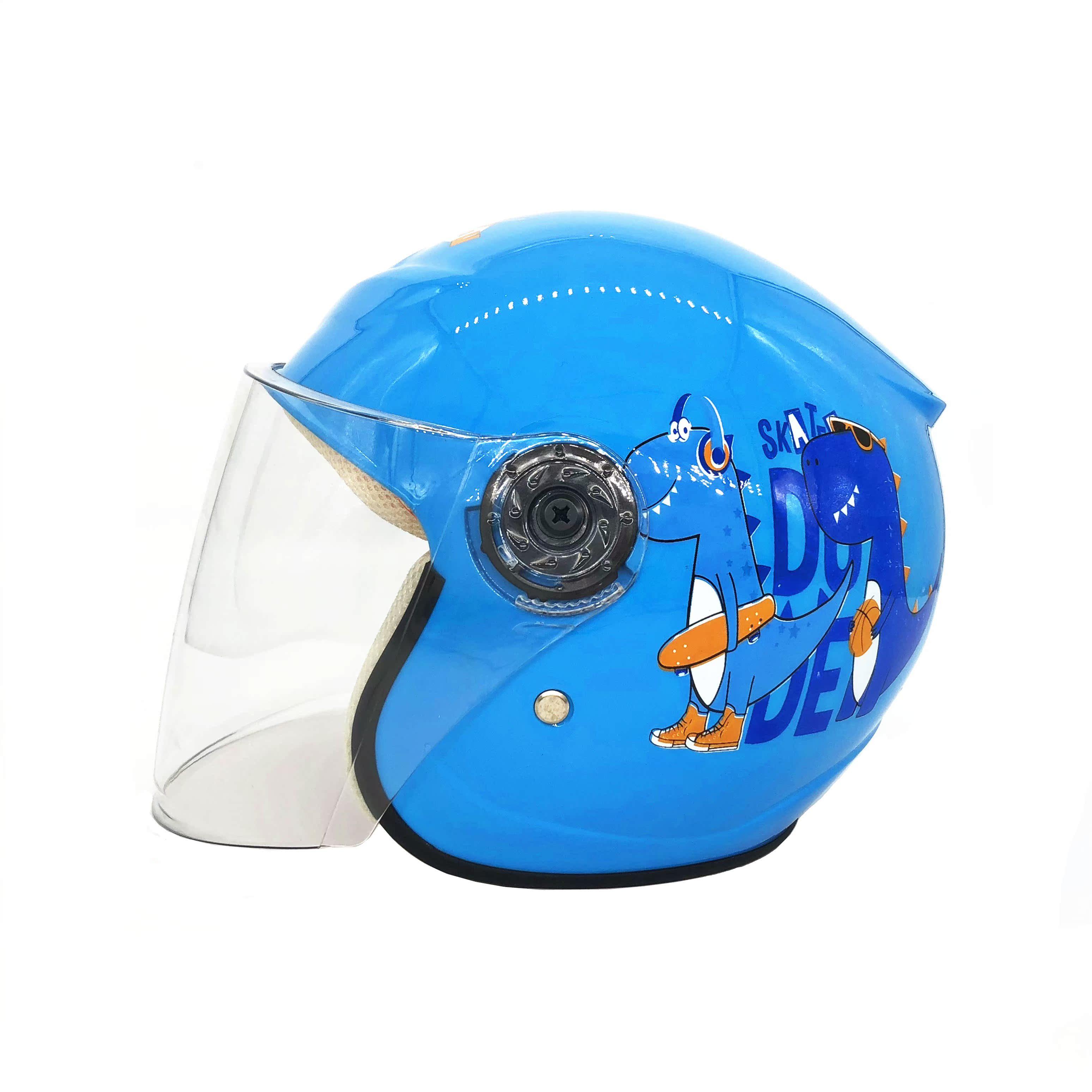 儿童安全自行车头盔旱冰鞋潮流儿童卡通头盔男孩四季蓝色简易