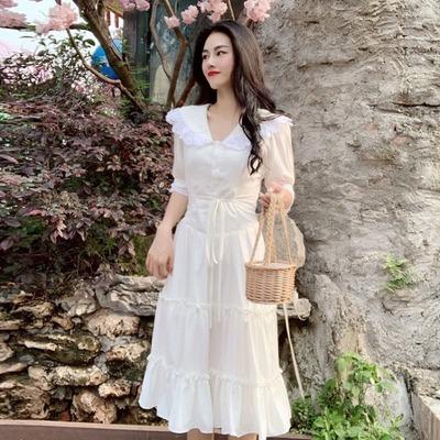 白色很仙的法国小众连衣裙女法式宫廷风复古蕾丝边初恋裙少女裙潮