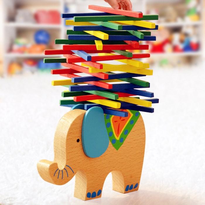3-6-8岁儿童家庭亲子互动益智力幼儿园桌面玩具积木大象平衡游戏