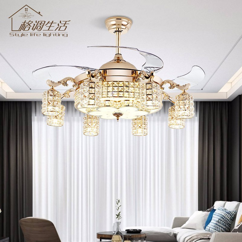 隐形水晶吊扇灯餐厅客厅卧室风扇吊灯欧式带LED遥控家用风扇灯具