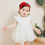 Mini Barabala baby triangle clothes 2019 summer new female baby dress mesh stitching jumpsuit