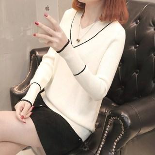2019新款v领女士毛衣女装春装新款女春季短款低领针织打底衫宽。