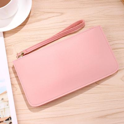 新款纯色软面简约女士钱夹长款钱包时尚大容量双层零钱手机包卡包