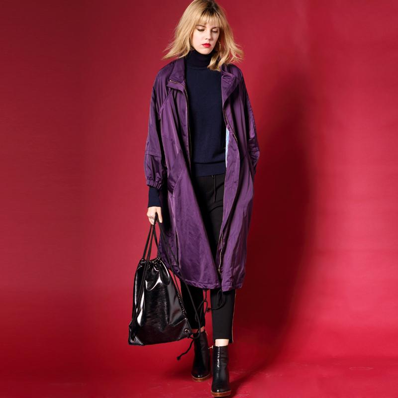 意大利设计师高端女装 紫色控定织面料立领风衣 中长款春秋外套