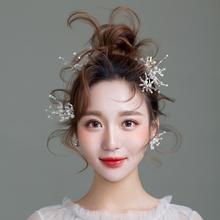 韩式水钻耳环头花结婚纱礼服造型发饰配饰品 ETE新娘头饰2019新款