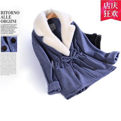 2018秋冬新韩版女装毛呢外套修身显瘦大码水貂绒毛领短款呢子大衣