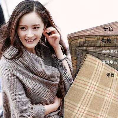 缘陌新款冬季保暖加长款披肩格子纹仿羊绒女士流苏两用围巾韩版