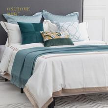 双人床被套10 新中式床品多件套样板房床上用品青绿色绣花家纺软装