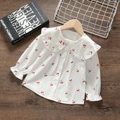 女童翻领衬衣洋气2幼童樱桃长袖 上衣娃娃衫 1⑶岁女宝宝衬衫 年龄款