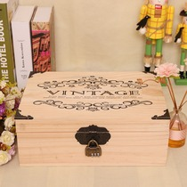 Wooden Tank table Box box deposit box jar storage face with wooden password box desktop with lock other
