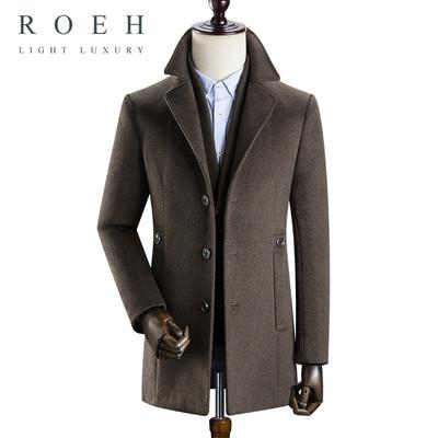 ROEH 大衣中年男士修身妮子中长款韩版英伦风衣尼子加厚外套LZ916