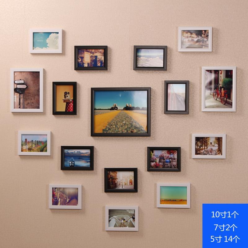 17框心形客厅照片墙相框墙 创意挂墙组合儿童卧室装饰相片墙 小17