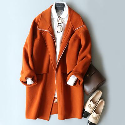 2018秋季新款时尚减龄中长款显瘦双面羊毛大衣女款外套H3-D6086