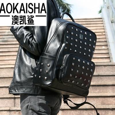 2018新款双肩包男士韩版学生书包柳钉百搭时尚背包旅行包5051新款