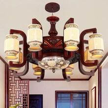 中式吊灯客厅灯中国风实木仿古典工程酒店大气陶瓷别墅餐厅吊灯具