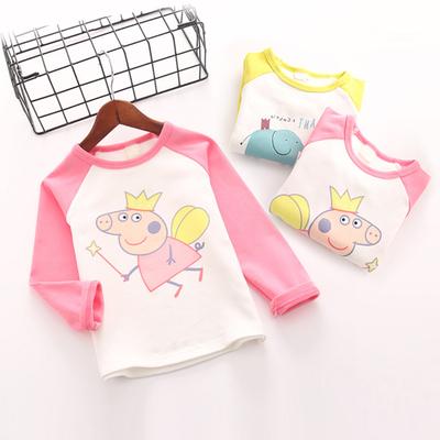 宝宝打底衫春秋季儿童长袖休闲百搭上衣男女童新款韩版卡通体恤衫