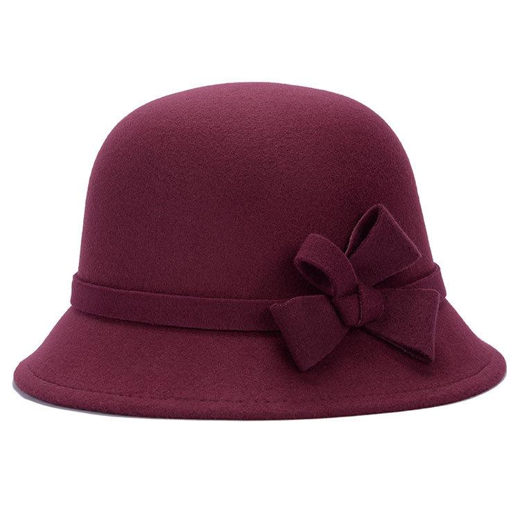 毛呢帽子蝴蝶结盆帽