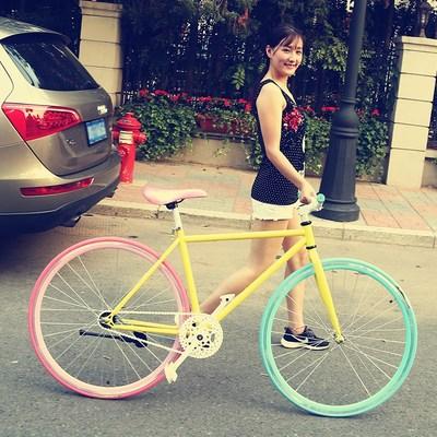 铝合金脚踏车成人女式单车死飞男女死飞自行车倒五刀弯刀公路赛
