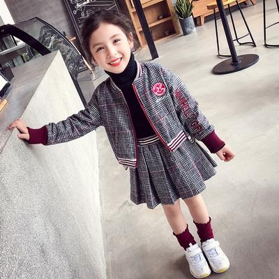 女童套装秋冬装2018新款洋气格子套裙儿童拉链衫外套+短裙两件套
