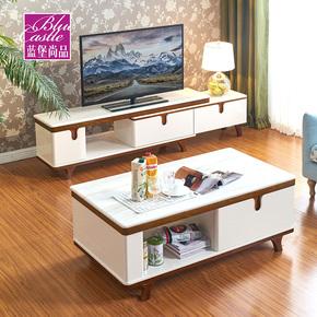 北欧大理石茶几电视柜组合套装伸缩现代实木烤漆简约地柜矮柜白色