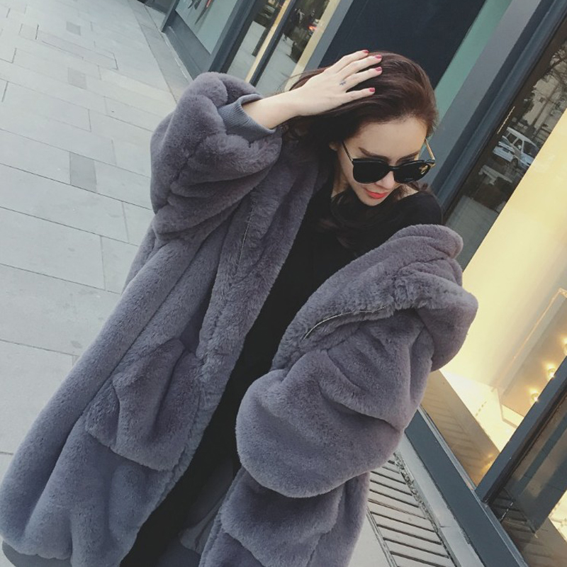 2018 autumn and winter new big-name European and American imitation fur long coat loose hooded