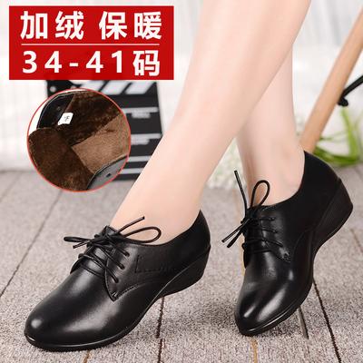 真皮软底妈妈皮鞋中年大码女鞋秋季坡跟单鞋舒适休闲鞋二棉鞋冬季