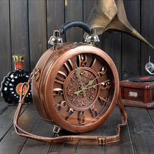 流行新款女包 正品复古真时钟圆盒子手提包 个性原创时光机斜挎包