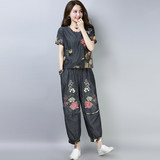 Mother summer cotton suits cover the meat was thin female 2018 new fashion loose stitching embroidered piece of linen