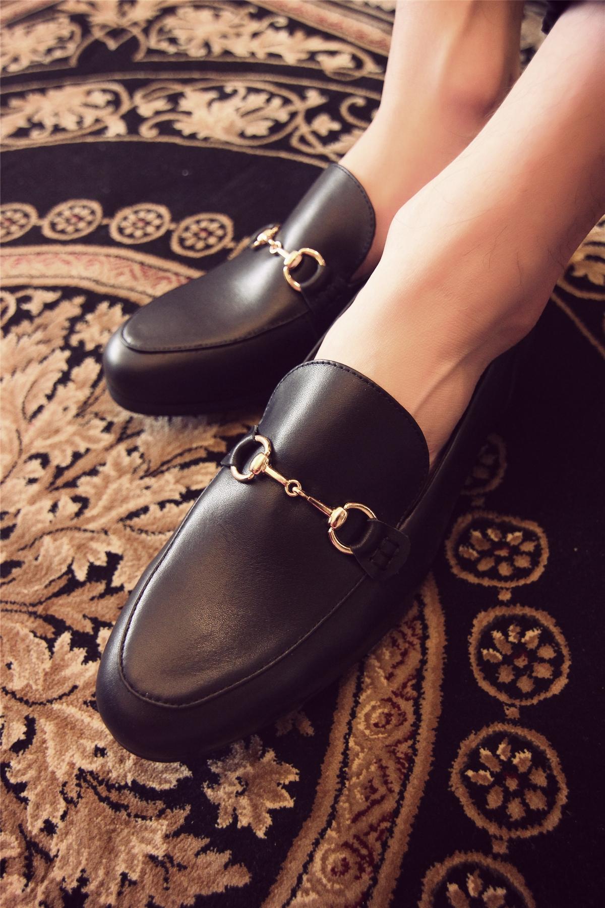 TIM呆呆秋装新款鞋子个性刺绣乐福鞋金属扣低帮男鞋简约百搭皮鞋