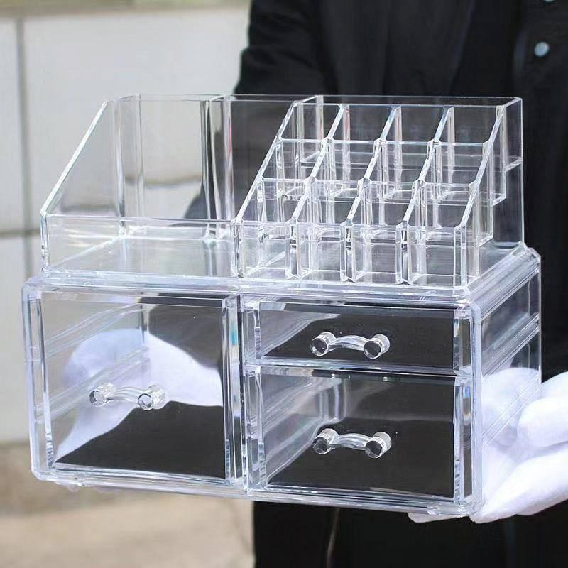 透明塑料化妆品收纳盒 首饰盒化妆 收纳 亚克力组合抽屉+化妆品架