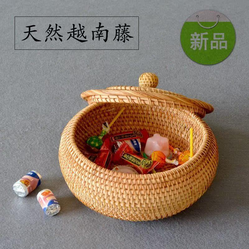 越南带盖藤编收纳盒圆形秋藤茶叶罐茶几零食收纳盒家用干果小藤篮