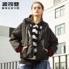 波司登时尚印字织带街潮运动休闲保暖短款连帽女羽绒服B70142504