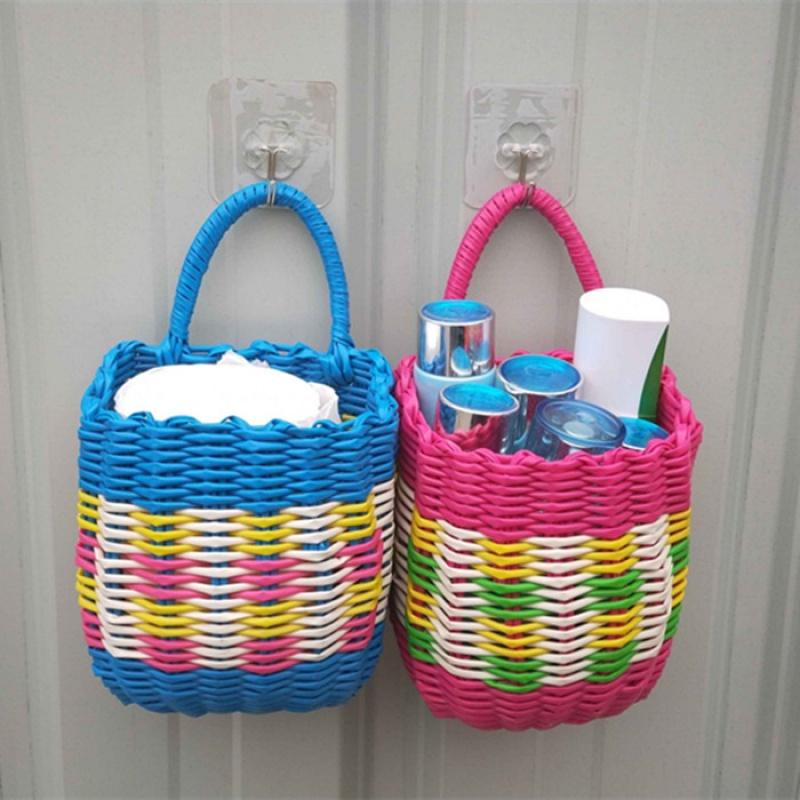 卫生纸厕所纸抽纸巾盒遥控器化妆品编织收纳筐电动车挂篮手提篮