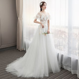 Light wedding dress 2019 new bride tailing out the door to shake the sound with the same paragraph luxury Sen super fairy dream thin slim